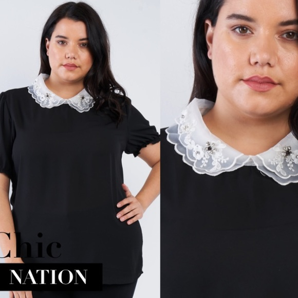 Chic Nation Tops - Embroidery chiffon top, black
